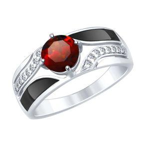 Кольцо из серебра с эмалью и гранатом и фианитами 92011495 SOKOLOV