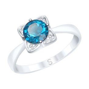 Кольцо из серебра с синим топазом и фианитами 92011689 SOKOLOV