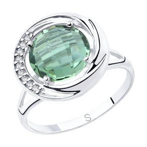 Кольцо из серебра с кварцем и фианитами 92011806 SOKOLOV