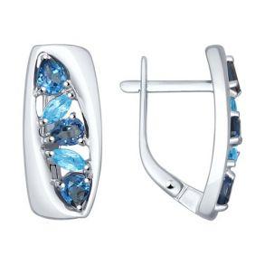 Серьги из серебра с синими топазами 92021243 SOKOLOV