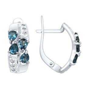 Серьги из серебра с синими топазами и фианитами 92021810 SOKOLOV