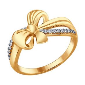 Кольцо из золочёного серебра с фианитами 93010672 SOKOLOV