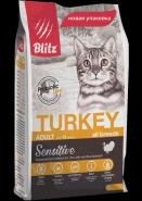 Blitz Adult Cats сухой корм для взрослых кошек «Индейка» 400 г
