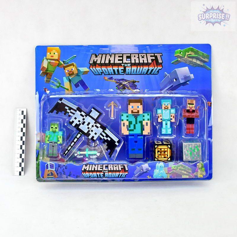 Minecraft the Update Aqurtic фигурка 1герой большой+4героя+аксессуары (№19006)