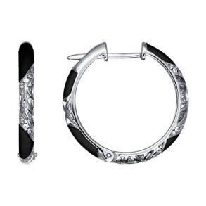 Серьги из серебра с эмалью с фианитами 94021240 SOKOLOV
