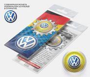 10 рублей VOLKSWAGEN, серия автомобили мира,(гравировка +цветная эмаль) в открытке