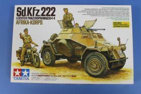 1/35 Нем.БТР Sd.Kfz.222 африк.корпус, мотоцикл DKW NZ350, 3 фигуры, фототравление , металлич. ствол.