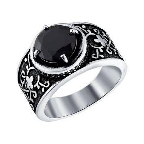 Кольцо из чернёного серебра с чёрным фианитом 95010069 SOKOLOV
