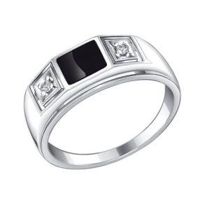 Печатка из серебра с эмалью с фианитами 94010437 SOKOLOV