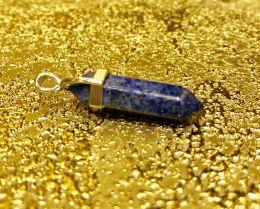 Биолокационный маятник натур камень Содалит в металле 3см