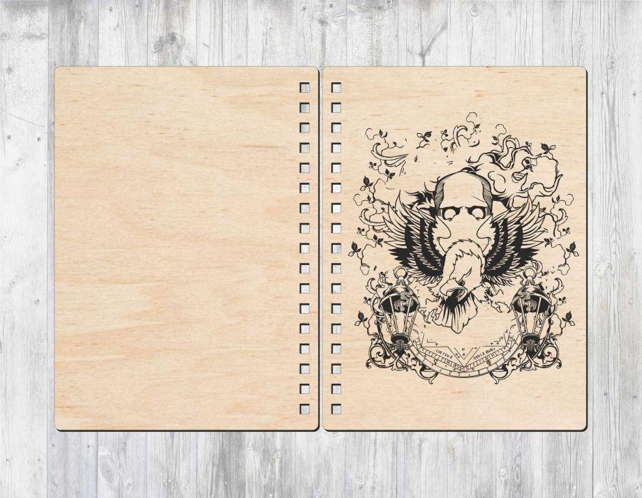 Блокнот с деревянной обложкой орел