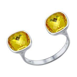 Кольцо из серебра с жёлтыми кристаллами swarovski 94011379 SOKOLOV
