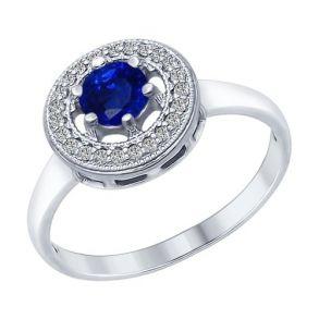 Кольцо из серебра с бесцветными и синим фианитами 94012316 SOKOLOV