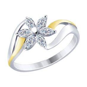 Кольцо из золочёного серебра с фианитами 94012470 SOKOLOV