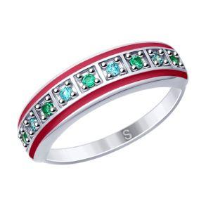 Кольцо из серебра с эмалью и фианитами 94012619 SOKOLOV