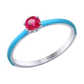 Кольцо из серебра с эмалью и красным корунд (синт.)  94012768 SOKOLOV