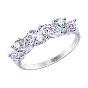 Кольцо из серебра с фианитами 94012848 SOKOLOV