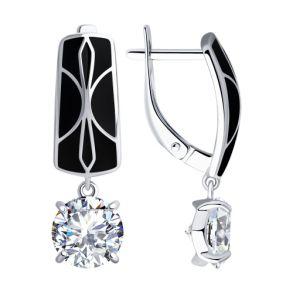 Серьги из серебра с эмалью и фианитами 94023410 SOKOLOV