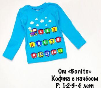 Лонгслив с начесом для мальчиков 1-4 лет BK006 бирюза