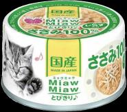"""Aixia MiawMiaw Tobikiri Консервы для кошек """"Куриное филе и ширасу в нежном желе"""" 60г."""