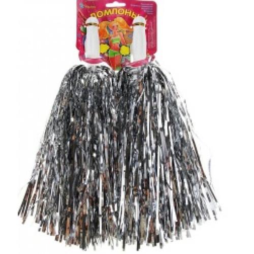 Помпоны для черлидинга и танцев Pom Poms, цвет - серебряный.