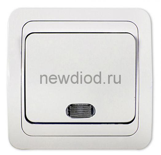 Выключатель 1кл с подсветкой CLASSICO белый 2121 IN HOME