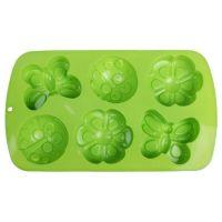 Силиконовые формы для выпечки (бабочка, божья коровка, цветок), 6 ячеек, цвет зеленый (2)