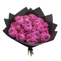 Букет из пионовидных кустовых роз мисти бабблс