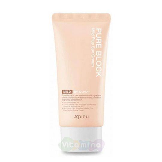 A'Pieu Мягкий солнцезащитный крем Pure Block Natural Mild Plus Sun Cream SPF32/PA++, 50 мл