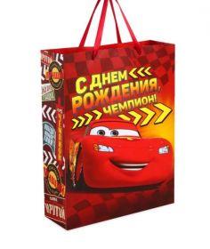 """Пакет подарочный """"С Днем рождения, чемпион!"""", Тачки, 23 х 27 х 11.5"""