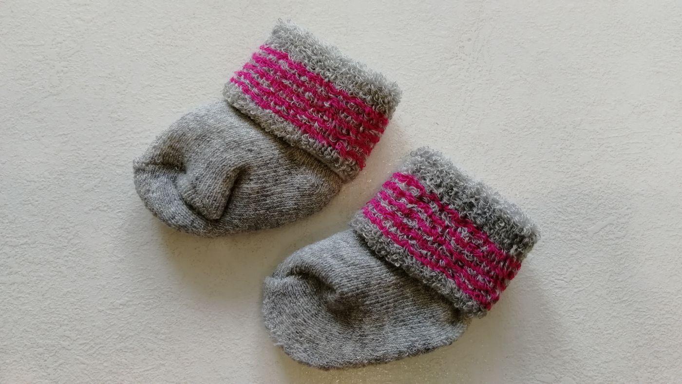 Носочки серые с розовым