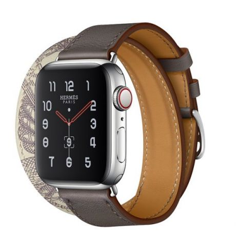 Apple Watch Hermes Series 5 Stainless Steel 40mm GPS + Cellular Étain/Béton with Leather Double Tour