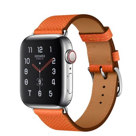 Apple Watch Hermes Stainless Steel Series 5 44mm GPS + Cellular Feu Leather Single Tour