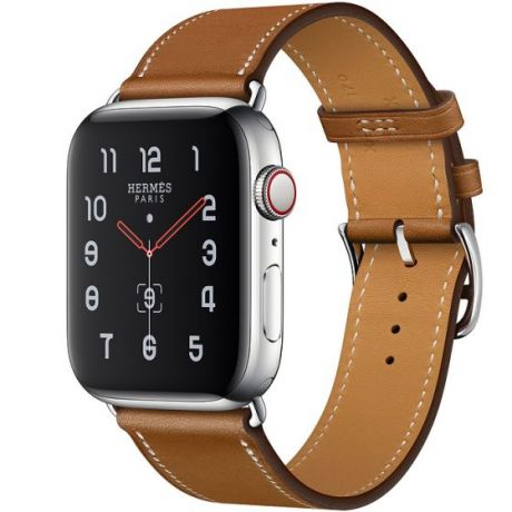 Apple Watch Hermes Stainless Steel Series 5 44mm GPS + Cellular Fauve Leather Single Tour