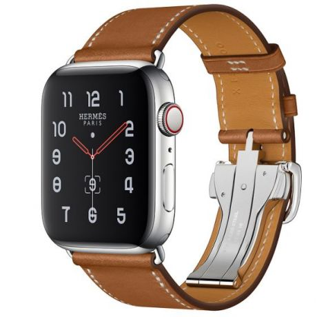 Apple Watch Hermes Stainless Steel Series 5 44mm GPS + Cellular Fauve Leather Single Tour Deployment Buckle