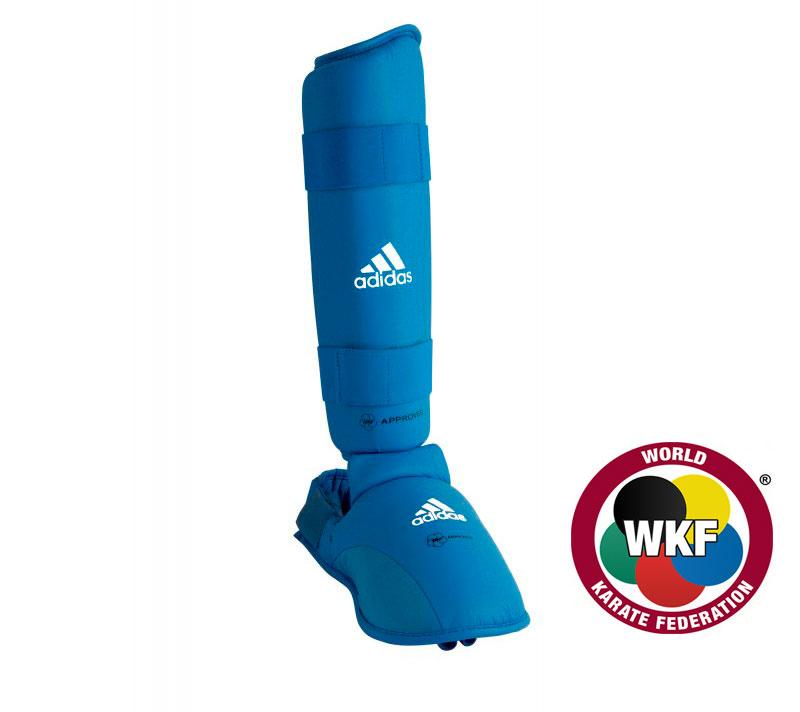 Защита голеностопа Adidas WKF Shin & Removable Foot синяя, размер XS, артикул 661.35
