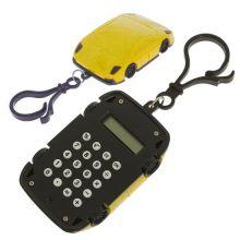 Брелок 8-разрядный калькулятор Машинка, Цвет: Жёлтый