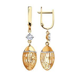Серьги из золота с фианитами 028475 SOKOLOV