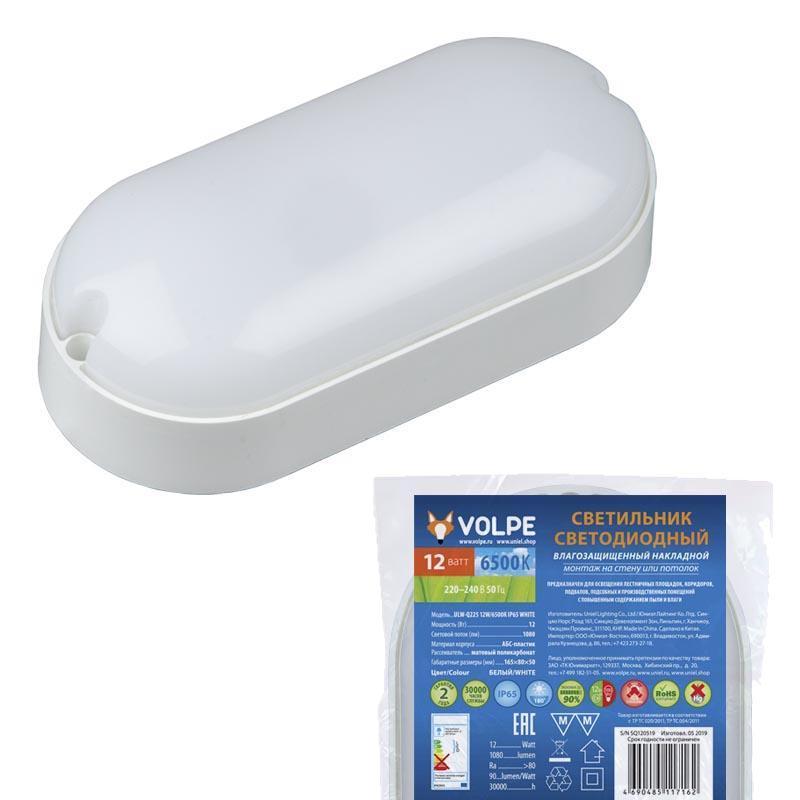 Потолочный светодиодный светильник (UL-00005135) Volpe ULW-Q225 12W/6500К IP65 White