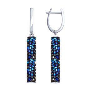 Серьги из серебра с синими кристаллами Swarovski 94023187 SOKOLOV