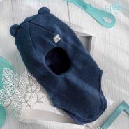 HOH ШЗ20-61851728 Шапка-шлем зимняя с маленькими ушками и нашивкой маленькая звездочка, индиго