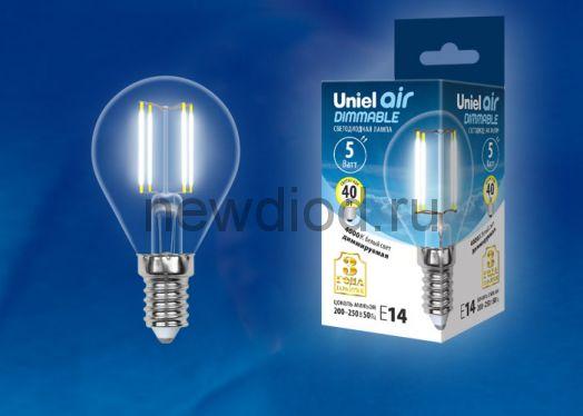 "Лампа сд диммируемая ""шар"" LED-G45-5W/NW/E14/CL/DIM прозр. серия Air 4000K Uniel"