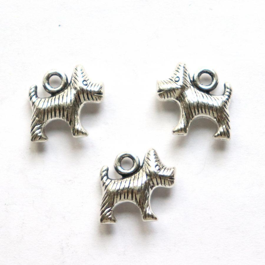 Подвески металлические, Терьер мохнатый, 15 мм, тибет.серебро, 4 шт/упак