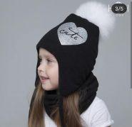 HOH RЗ-3826 Зимняя шапка с натуральным помпоном, черный
