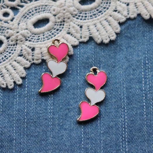 Подвески металлические с эмалью, Три сердца, 30*12 мм, 1шт