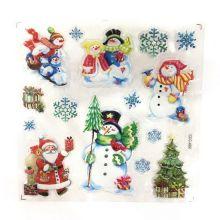 Новогодние наклейки на окна Room Decor, 26х21 см, Снеговики