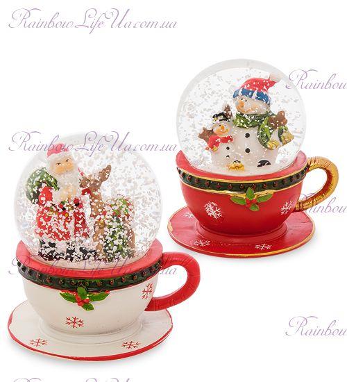 """Шар - чашка со снегом """"Санта и снеговики"""""""