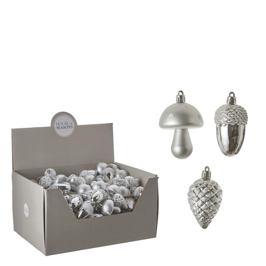 Нaбoр плacтикoвых игрушек Шишка/Желудь/Гриб 3*8 см серебро дисплей