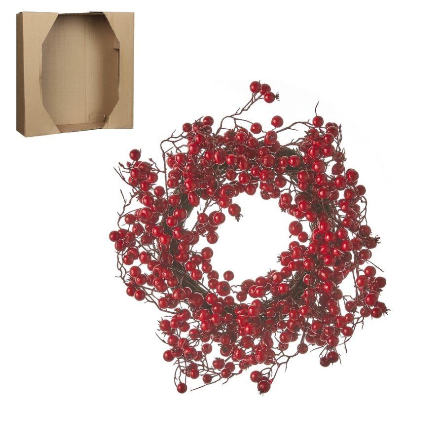 Венок из красныз ягод 40 см