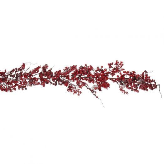 Гирлянда с ягодами 180 см красная в снегу...